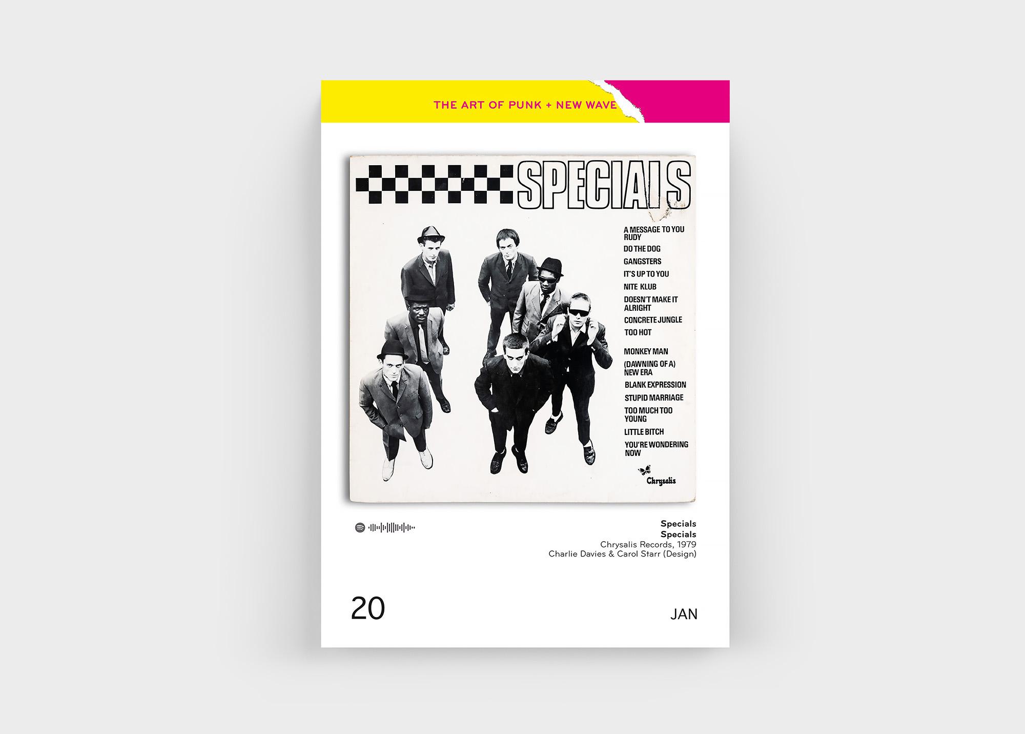 """Natürlich auch mit dabei im """"The Art Of Punk + New Wave Covers"""" Kalender von Oliver Seltmann: die Specials"""