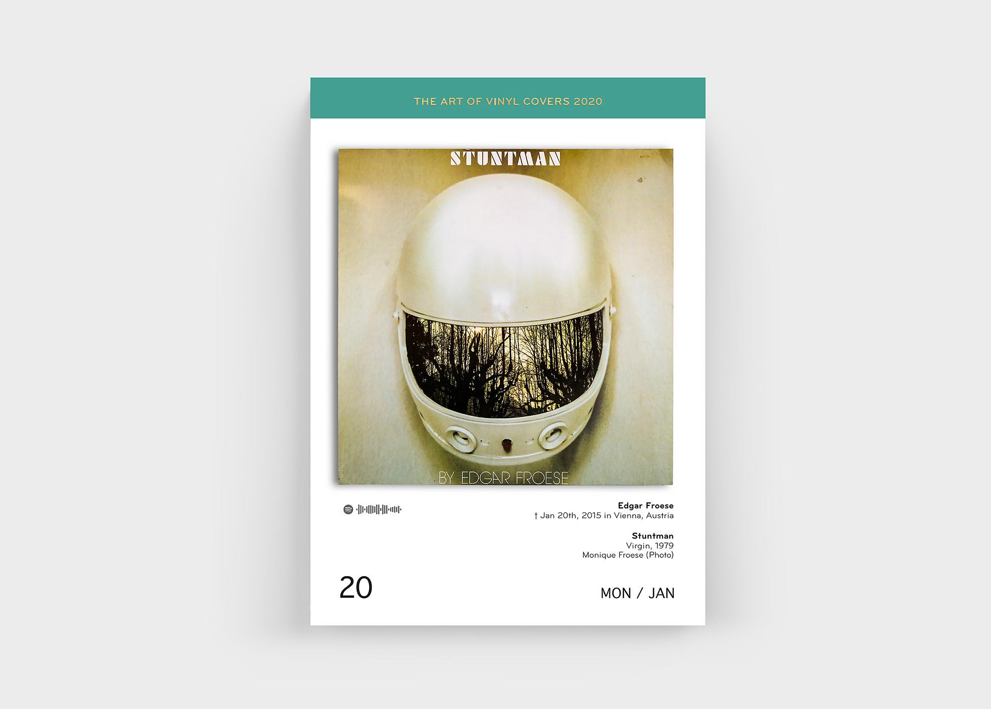 """Mit dabei im """"The Art Of Vinyl Covers 2020"""" Kalender von Oliver Seltmann: Edgar Froese"""