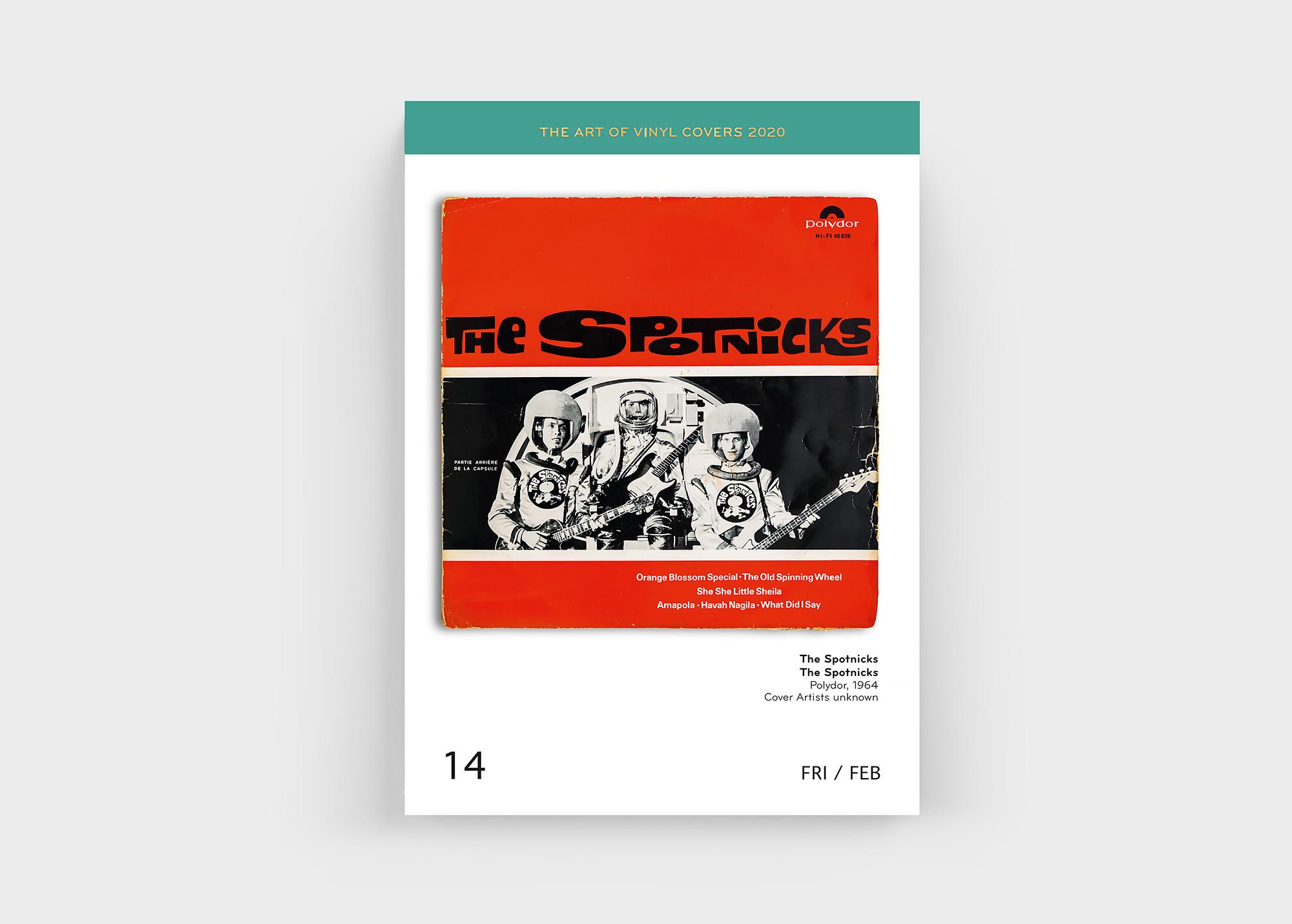"""Mit dabei im """"The Art Of Vinyl Covers 2020"""" Kalender von Oliver Seltmann: The Spotnicks"""