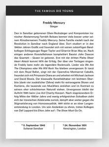 Auf der Rückseite der The Famous Die Young Kalenderblätter gibt es noch einiges an Informationen der zu früh verstorbenen Ikonen