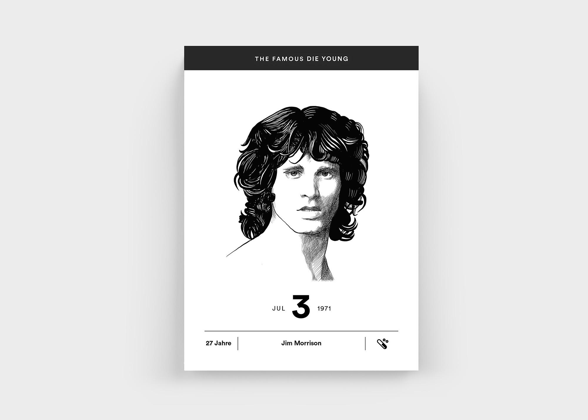 """Leider auch zu früh von uns gegangen und deswegen im """"The Famous Die Young"""" Kalender: Jim Morrison"""